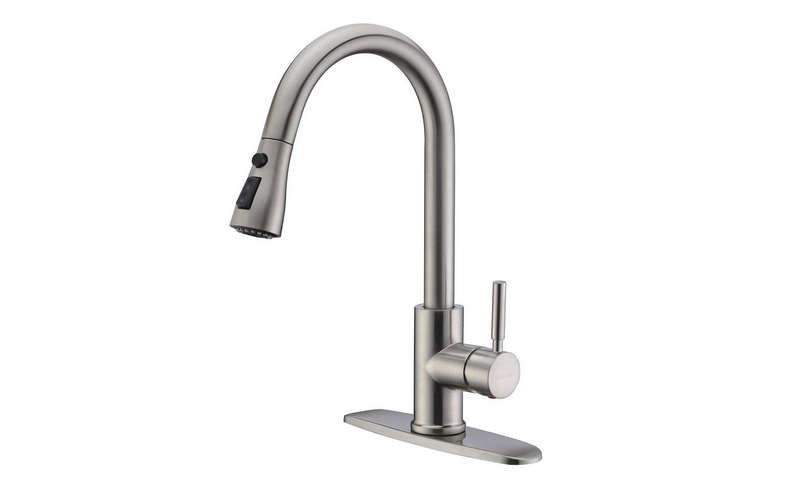 WEWE Single Handle High Arc Brushed Nickel Pullout Kitchen Faucet Review